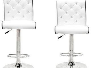 Best Master Furniture Stud Tufted Swivel Bar Stools White  Set of 2  Retail 197 49