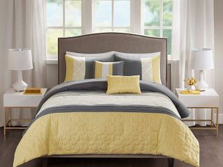 510 Design Shane Yellow Grey Embroidered 5 piece Comforter Set  Full Queen