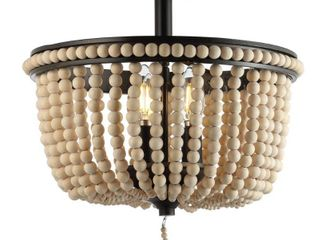 Allie 14  Wood Beaded Metal lED Flush Mount  Black   light Taupe by JONATHAN Y  Retail 116 32