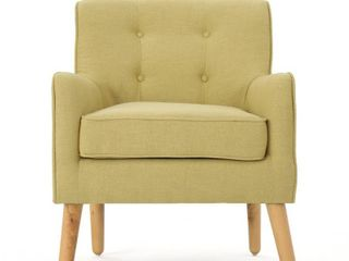 Felicity Mid Century Button Tufted Fabric Arm Chair by Christopher Knight Home  Yellow with Natural Wood legs  Retail 183 99