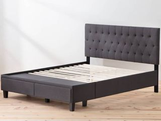 Brookside Anna Upholstered Storage Bed with Drawers  Charcoal  Full Size  Damaged Drawers  Retail 479 49