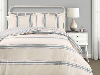 lush Decor Farmhouse Stripe 3 Piece Comforter Set  King  Retail 122 49