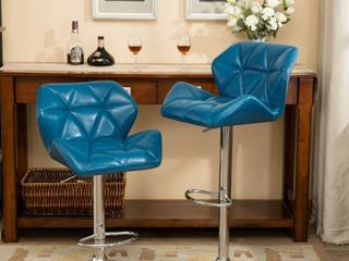 Roundhill Furniture Glasgow Contemporary Tufted Adjustable Height Hydraulic Bar Stools  Teal Set of 2