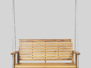 Tasmania Outdoor Aacia Wood Porch Swing by Christopher Knight Home  Retail 188 49