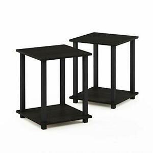 Porch  amp  Den Rutherford Simplistic End Table  Espresso Black  Set of 2