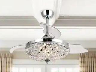 Modern Chrome Crystal 42  Ceiling Fan 6 light Chandelier   Retail 212 00
