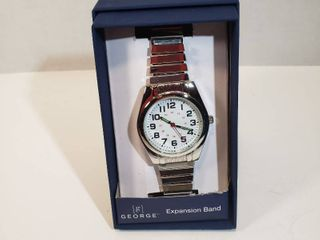 George 24 hour dial second hand silver expansion band women s wrist watch