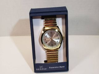 George 12 hour second hand dial gold expansion band wrist watch women s