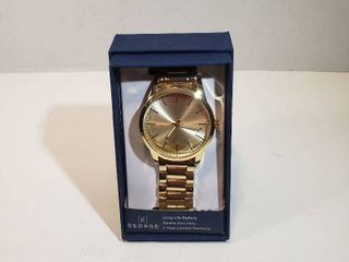 George long life battery Quartz Accuracy Gold wristband watch Mens
