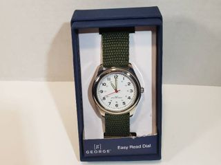 George Easy Read 24 hour dial red second hand with woven olive green wristband women s watch