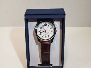 George Easy Read 24 hour Dial red second hand long life Battery brown leather wristband watch men s