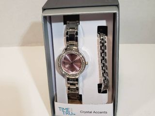 Time and Tru Watch Bracelet set with Crystal Accents Round 12 hour dial pink face silver wristband watch womens