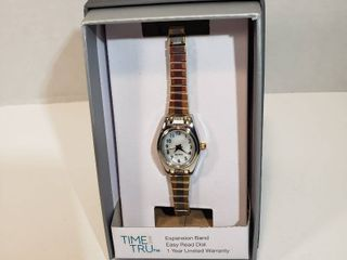 Time and Tru Easy Read 12 hour dial second hand Quartz Expansion wristband silver and gold trim watch women s