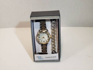 Time and Tru Watch Bracelet set with Crystal Accents Round 12 hour dial second hand white face silver   gold wristband watch mens