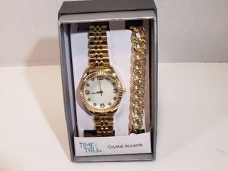 Time and Tru Watch Bracelet set with Crystal Accents Round 12 hour Easy Read Dial Second hand white face gold wristband watch mens