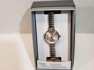 Time and Tru Easy Read 12 hour Dial Second hand silver expansion wristband watch women s