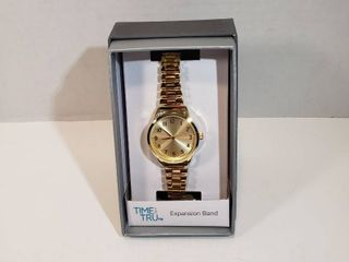 Time and Tru Easy Read 12 hour Dial Second hand Gold face   expansion wristband watch women s
