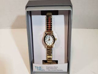 Time and Tru Easy Read 12 hour Dial Second hand White face Narrow Gold expansion wristband watch women s