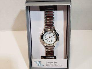 Time and Tru Easy Read 24 hour Dial Second hand silver expansion wristband watch women s