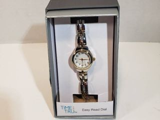 Time and Tru Easy Read 12 hour Dial Second hand silver wristband watch women s