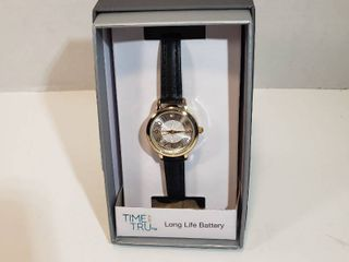 Time and Tru Easy Read 12 hour Dial Second hand long life Battery Black leather wristband watch women s