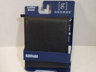 George Mens leather slim ID billfold wallet 6 credit card slots extra storage slots and ID window Black