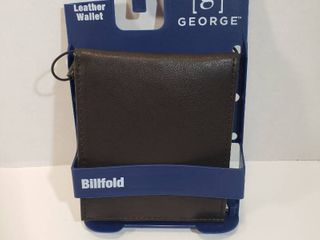 George Mens leather slim ID billfold wallet 6 credit card slots extra storage slots and ID window Brown
