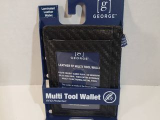 George laminated leather multi tool RFID protected Clip wallet black