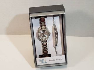 Time and Tru watch and bracelet set with Crystal accents 12 hour dial second hand women s watch