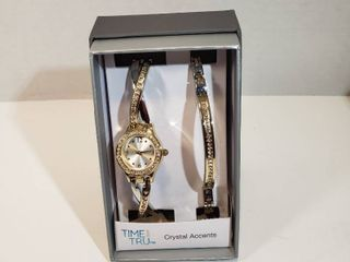 Time and Tru watch and bracelet set gold and silver with Crystal accents women s watch