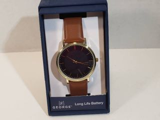 George 12 hour dial second hand blue face gold trim long life battery Tan wristband watch women s