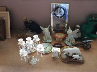 GROUP OF FIGURINES  CANDlE HOlDER  ClOCK ETC