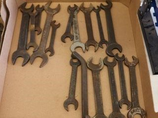 BOX OF ASSORTED OlD WRENCHES