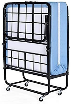 Inofia Foldable Folding Bed  Rollaway Extra Guest Bed with 5 Inch Memory Foam Mattress and Portable Metal Frame on Wheels   Easy Storage   Space Saving   Cot Size   75 Inches x 31 Inches