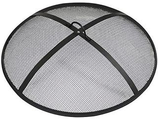 Sunnydaze Outdoor Fire Pit Spark Screen Cover Guard Accessory   Round Heavy Duty Steel Backyard Mesh lid Ember Arrester with Handle  comes with fire pit poker