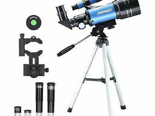 Aomekie Telescope for Kids 70mm Astronomical Telescope 150X Magnification with Phone Adapter Moon Filter Erecting Eyepiece and Barlow