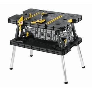 Keter Folding Worktable  adjustable resin work bench with clamps  black