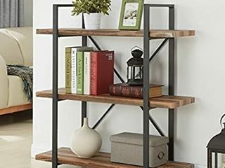 Homissue 3 Tier Industrial Bookcase and Book Shelves  Vintage Wood and Metal Bookshelves  Retro Brown