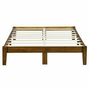 Sleep Smart Wood Platform Bed Frame  Queen  light Brown Queen light Brown