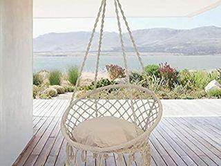 Patio Watcher Garden Hammock with Cushion and Hanging Accessory Kit  Handmade with Mesh Rope for Indoor  Outdoor  Home  Bedroom  Patio  Patio  Deck  Garden