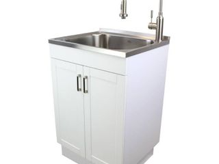 Transolid TC 2420 WC 24 in  All in One laundry Utility Sink Kit  White Stainless Steel
