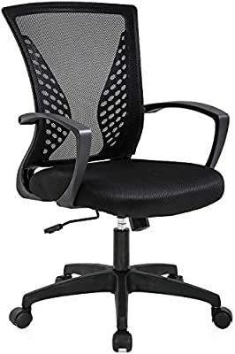 Office Chair Ergonomic Desk Chair Mesh Computer Chair with lumbar Support Armrest Mid Back Rolling Swivel Adjustable Task Chair for Women Adults  Black   MIGHT BE MISSING HARDWARE
