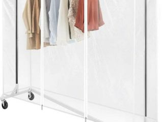 Greenstell Z Base Garment Rack with Cover Industrial Pipe Style Clothes Rack on Wheels with Brakes Heavy Duty Durable Square Tubing Z Garment Rack with Two Hooks  White    MISSING COVER AND HARDWARE