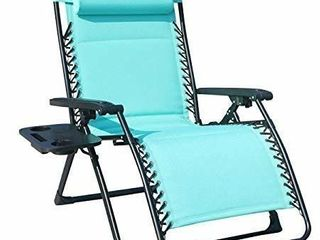 GOlDSUN Comfortable Oversize Xl Padded Zero Gravity lounge Heavy Duty Adjustable Patio Recliner Chair with Cup Holder Support 350lbs  blue