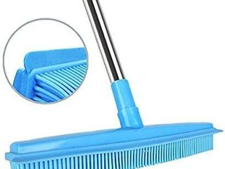 Push Broom Rubber Bristles Sweeper Squeegee Edge 51 inches Adjustable long Handle Non Scratch Bristle  Indoor Outdoor Broom for Pet Cat Dog Hair Carpet Hardwood Floor Tile Windows Clean Cleaning Blue