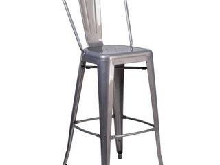 Flash Furniture 30  Curved Slat Back Metal Bar Stool in Gray   MISSING HARDWARE