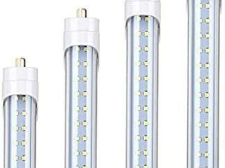 8FT lED Tube light  65W T8 8FT lED Bulbs 6000K Cool White FA8 Base Dual Row lED Tubes  Replacement for Fluorescent Fixtures  Clear Cover  Dual Ended Power 4 Pack