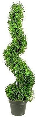Admired By Nature GTR4633 NATURAl Artificial Boxwood leave Spiral Topiary Plant in Plastic Pot44  Green   3 ft  Pack Of 2