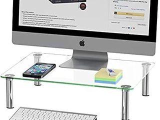 SimpleHouseware Computer Monitor Riser  Glass  MISSING 1 FOOT