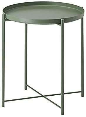 Side Table Tray Metal End Table Round Foldable Accent Coffee Table for living Room Bedroomi1 417 3 A20 5 i1 4  M  Dark Green